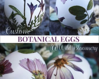 Add On CUSTOM Botanical Egg Collection: Set of 3 Eggs Boxed w. Petals > Dye Free - Natural - Biodegradable