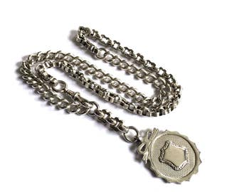 Silver Heirloom Necklace, Heavy Albert Chain Necklace, Silver Albert Chain Necklace, Antique Watch Fob Necklace, English Silver Watch Chain