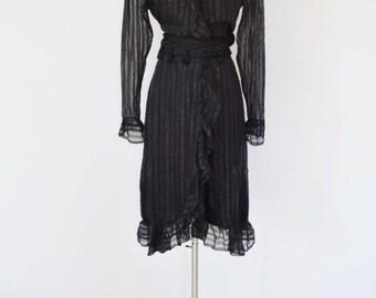 Ethereal Hanae Mori Sheer Ruffle Wrap Style Dress