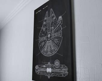 Star Wars Millennium Falcon Canvas Wrap - Geek Decor - Patent Print Canvas Wrap Wall Decor Plexity Prints #115W
