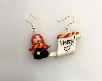 Earrings earrings < 3, thumbnail, Ginny Weasley, Harry, Harry Potter, vellum, parchment, gryffindor, Gryffindor, ron, hermione granger