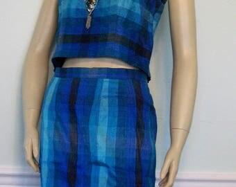 Vintage Playset Skirt and Crop Top Slub Fabric Aqua Small Wiggle Set