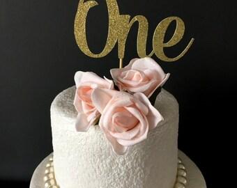 ONE Cake Topper .. Glitter Cake Topper ..  Smash Cake Topper .. 1st Birthday Cake Topper
