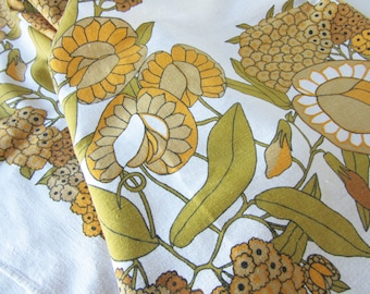 Vintage Beige or Off-white Tablecloth with a Green and Orange Retro Floral Design 70s 16319