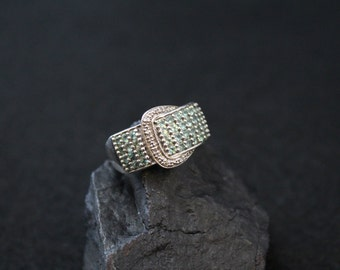 Sterling Buckle ring, Pave Jewelry, Silver Belt Ring, Sterling Belt Buckle, Green Gemstone Ring, Trendy Jewelry