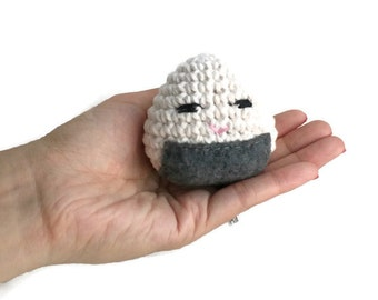 Amigurumi Onigiri, Toy Onigiri, Play Food, Pretend Japanese Food, Crochet Rice Ball, Crochet Onigiri, Toy Food, Stuffed Play Food, Rice Cake