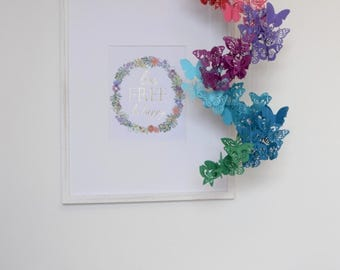 Spiral Paper Butterfly Mobile Chandelier in Rainbow Colors