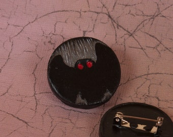 The Mothman Cryptid Pinback Button, Mothman Prophecies Pin, Cryptid Button, Cryptozoology Pin, Point Pleasent Button, Cryptozoology Button