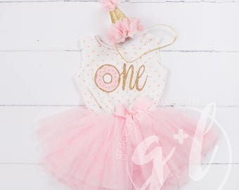 Donut Birthday Outfit, First Birthday outfit girl, Pink gold birthday, First Birthday pink and gold dress, sleeveless, polka dot