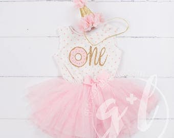 Donut Birthday Outfit, First Birthday outfit girl, Pink gold birthday, sleeveless, polka dot, donut and gold glitter