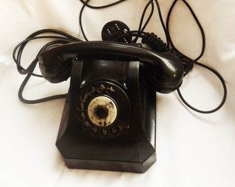 Vintage Rotary Phone Voroshilov, Retro Phone, Old Rotary Telephone, Dial Phone made in Bulgaria 1955, Bakelite Voroshilov Phone,Retro Decor
