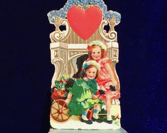 1900's Valentine Card Girls in Flower Cart Germany