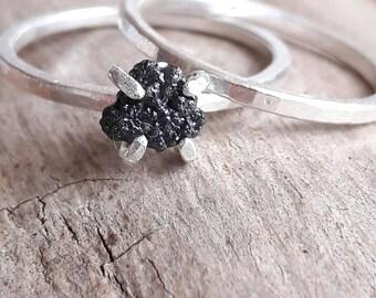 Rough Black Diamond and Sterling Silver Bridal Set - Raw Black Diamond - Alternative Wedding Set - Diamond Stacking Rings - Goth Wedding Set