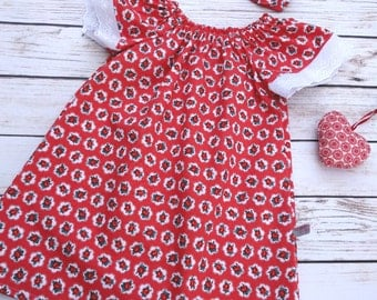 Girls birthday dress red with flutter sleeves and broderie. Peasant style red dress Flutter sleeves Sizes 12m, 18m, 2T, 3T, 4T, 5,6,7,8,10
