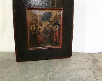 Religious Decor / features: vintage / hand painted / scene of Saints / gilt / solid wood religious plaque