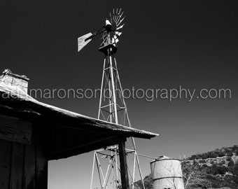 Photograph of a windmill in black and white
