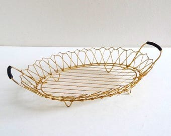 Mid Century Golden Metal and Black Scoubidou Kitchen Basket - Vintage 1960s Fruit Basket, Bread Basket