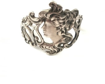 Vintage Sterling Art Nouveau Style Maiden Cuff Bracelet