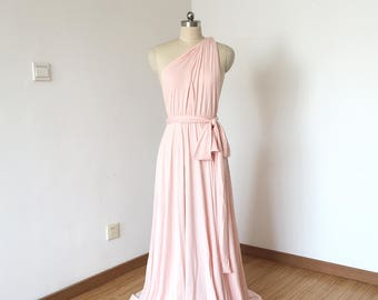 One-shoulder Blush Pink Spandex Long Convertible Bridesmaid Dress