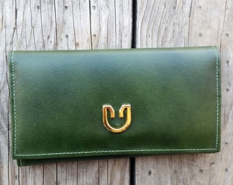 Vintage New Yorker Green Leather Bifold Wallet