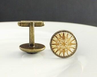 Boat Cufflinks Compass Cuff Links Mariners Cufflinks Antique Style compass cufflinks little boat gold cufflinks mariners gift boat cufflinks