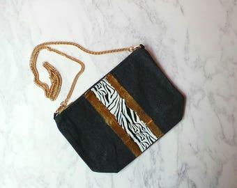 Denim Cross body bag,zebra,gold metallic, personalised,handbag,
