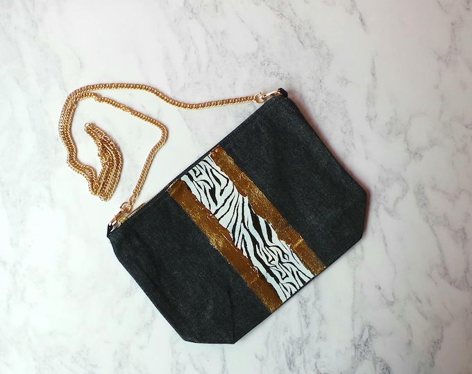 Featured listing image: Denim Cross body bag,zebra,gold metallic, personalised,handbag,