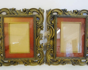 """2 Vintage Norleans Frames Matted Ornate Glass 9 1/2 """" Gold Gilt Syroco Homco Style Japan Repurpose Retro 60s 70s"""