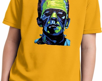 Kid's Frankenstein Face Moisture Wicking Tee T-Shirt 20719NBT2-YST340