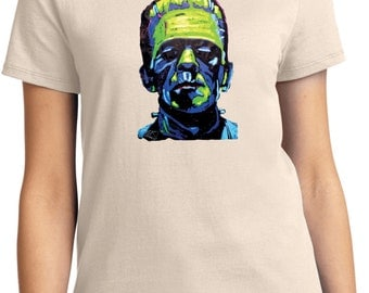 Ladies Frankenstein Face Tee T-Shirt 20719NBT2-LPC61