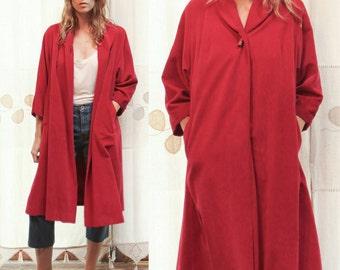 Vintage 1970s Lush Crimson Red Velvet Over Coat, Jacket
