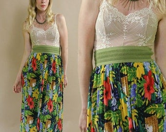 Vintage 1980s Avocado Green & Multicoloured, Tropical FLoral and Leopard Print, Accordion Pleated Pencil Skirt