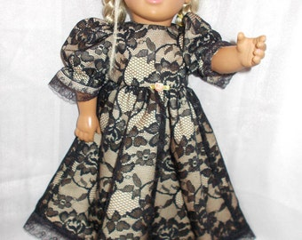 "Peach and Black Dress for 18"" Doll (American Girl Style)"