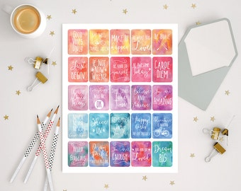 printable watercolor positive quote stickers, inspirational motivational stickers for use with ERIN CONDREN LIFEPLANNER™, full box stickers