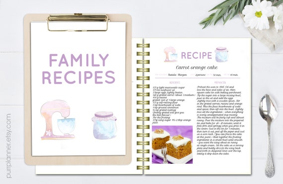 Recipe Template, Editable Cook Book, Doc Template, Printable
