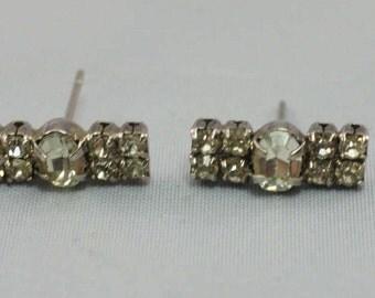 Petite Bow Rhinestone Pierced Earrings