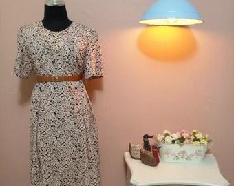 Retro dress. 80s. 1980 Vintage Dress.80's Dress.Vintage Women's dress.Mix Color Chic Vintage Dress For Women 1980s.Free Shipping.Size M-L