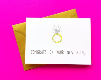 Engagement card diamond ring, congrats on your bling, wedding card