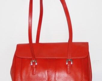 LONGCHAMP-Red Genuine Leather Satchel/Shoulder Bag-Rare Vintage-Made in Paris