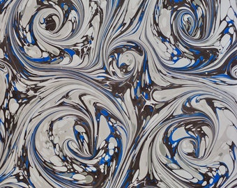 Hand Marbled Paper 730 X 500mm ~ Blue Grey Swirl Design- One off