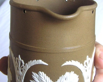 REDUCED - Antique Brown English Jasperware Jug/Stein - late 1800s