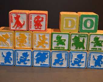 14 Vintage 1970's Disney Alphabet Wood Blocks