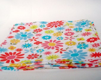 Flowered Fabric Pieces, Quilt Squares, White Multi, Floral Material, Lightweight Cotton, DIY Project
