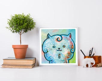 Square cat art print - cute cat painting for nursery, cute kitten painting, colorful kitty art, whimsical cat art, nursery cat illustration