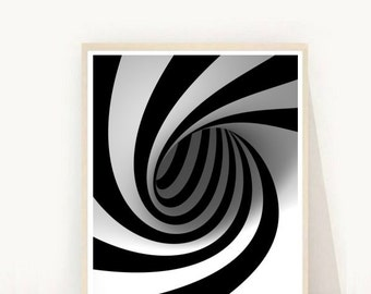 Printable Art, Op Art,  Black and white Print, abstract Art Print, Instant Download, Modern Wall Art