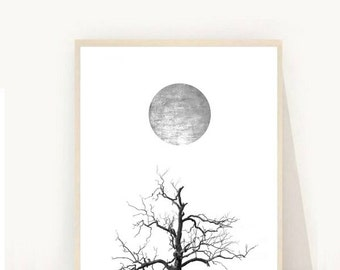 Scandinavian Art, Minimalist Poster, Tree Print, Printable Art, Abstract Art print, Black and white Art,  Wall Decor, digital Download