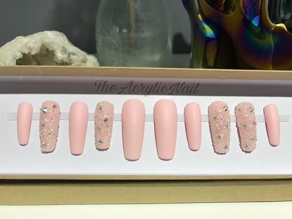 Long Coffin Baby Pink Matte Crystal Pixie AB Swarovski ...