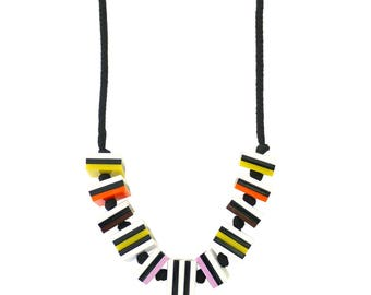 Liquorice Allsorts Laser Cut Statement Necklace - Sweet Necklace Candy Necklace Kitsch Retro