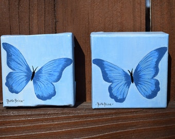 Two Tiny Treasures - Set of Blue Butterflies on 3x3 Canvases