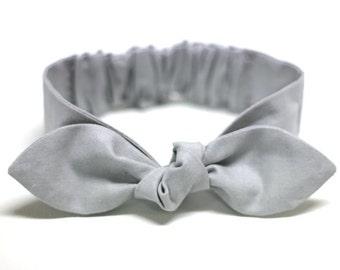 """Gray Knot headband, Womens Headband, Adult Headband, Headband for Women, Girl Headband, Bow Headband, Girl, Women, Headband, """"Mary"""""""""""